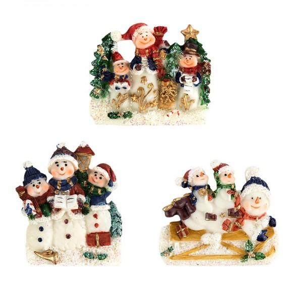 Relief-Schneemänner, 3 Stück