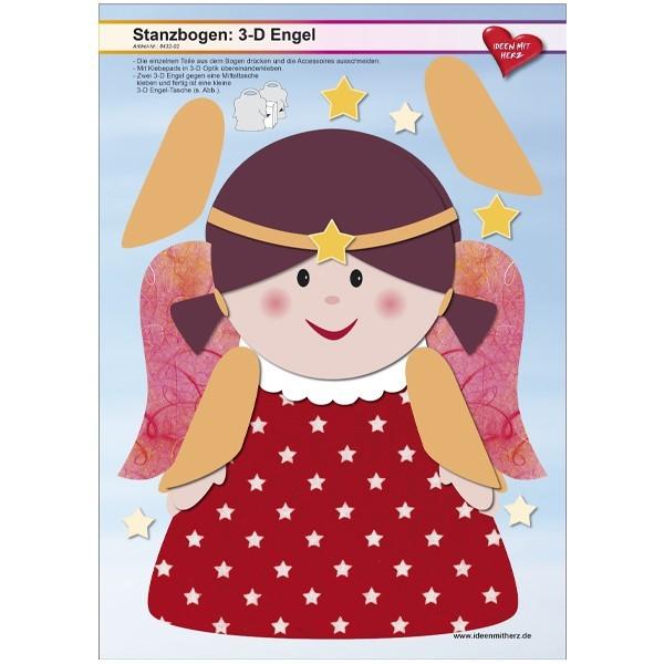 Stanzbogen, 3-D Engel, DIN A4, Design 2, 2er Set