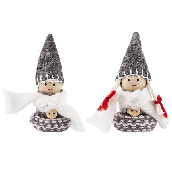 """Winter-Püppchen, Design 16 """"Linda"""", 8cm hoch, 2 Stück"""