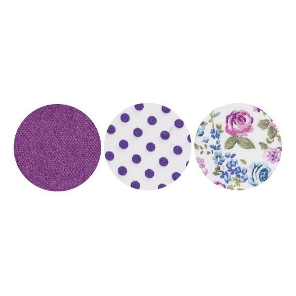 Stoffkreise für Knöpfe mit 19 mm Ø, violett/gemustert, 50er Set