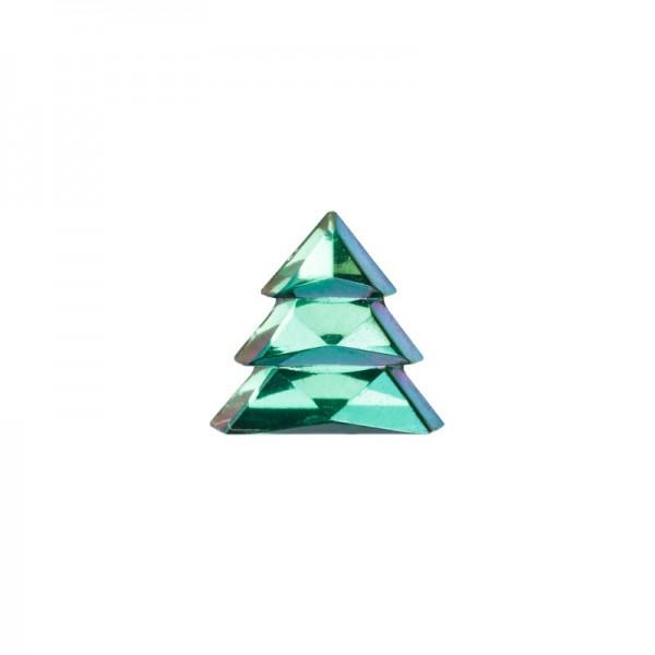 Glitzersteine, Tannenbäume, 8 mm, 50 Stück, grün-irisierend