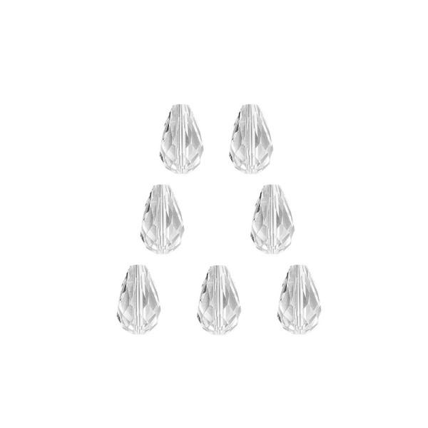 Glaskunst, Perlen, Tropfen, 1,2cm x 1,8cm, facettiert, klar, 7 Stück