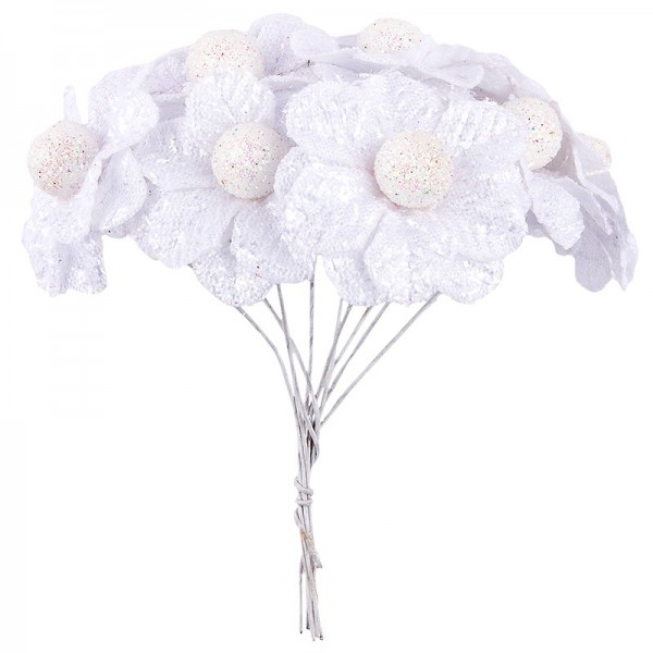 Deko-Blüten Bella, Ø 4cm, weiß, 10 Stück