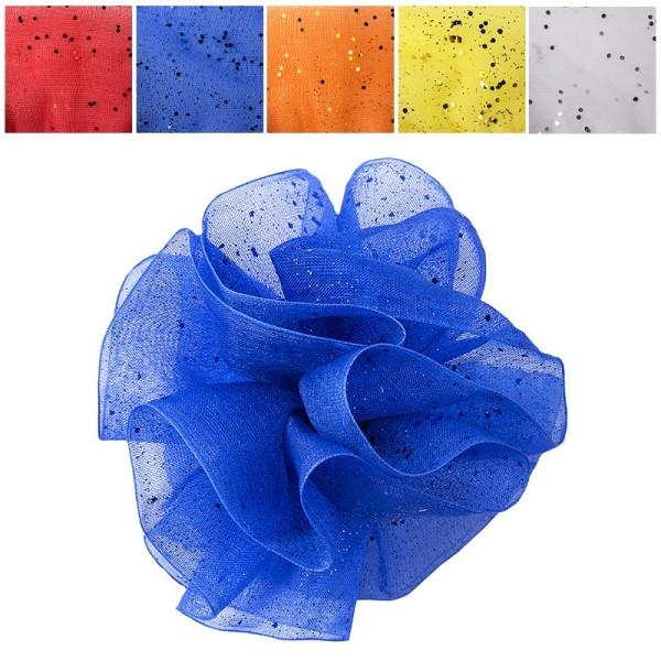 Zieh-Rüschen, Organza mit Glimmer-Effekt, 1m x 38mm, kräftige Farben, 5 x 2 Farben, 10 Stück
