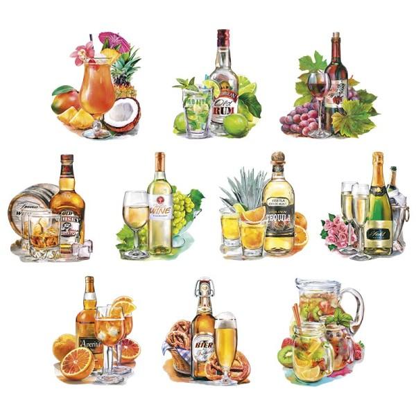 3-D Motive, Drinks & Cocktails, 7-9,5cm, 10 Motive