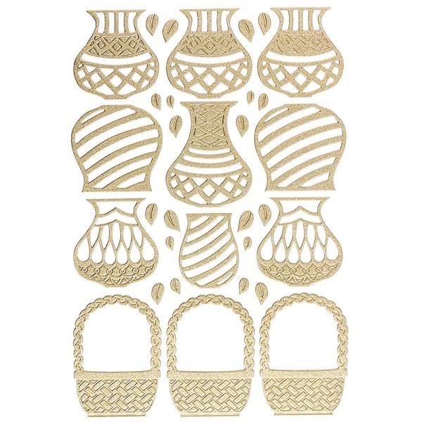 """3-D Sticker """"Deluxe Vasen & Körbe"""", verschiedene Größen, selbstklebend, gold"""
