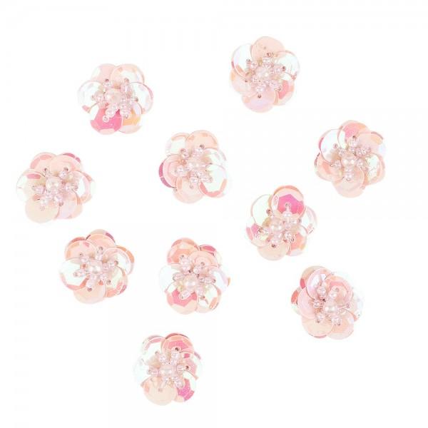 Paillettenblumen, Ø2cm, 10 Stück, rosa-irisierend