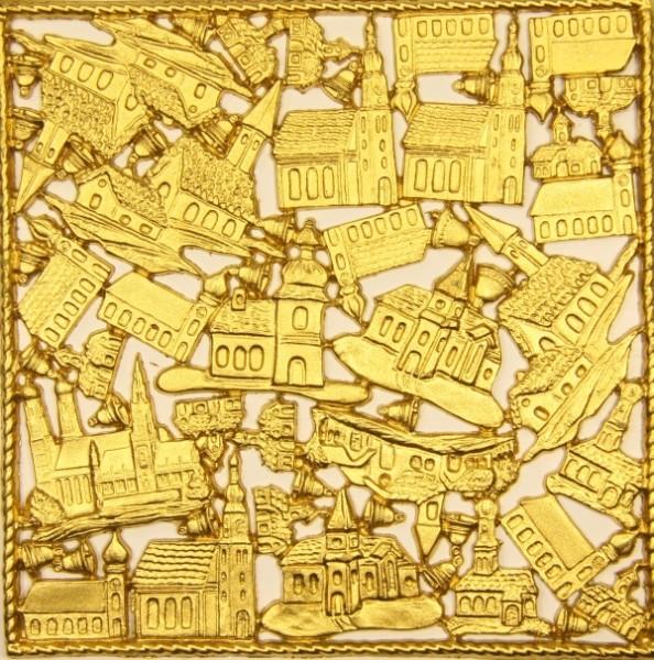 Wachsornament-Platte Kirchen, 16 x 16 cm, gold