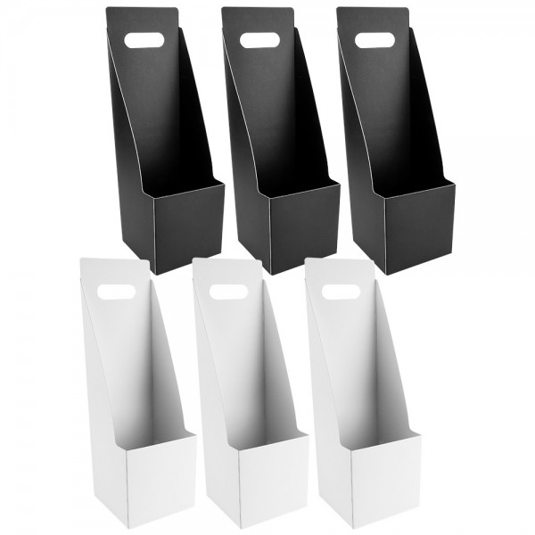 Geschenkboxen für Pflanzen, 11cm x 11cm, 35cm hoch, weiß, schwarz, 6 Stück