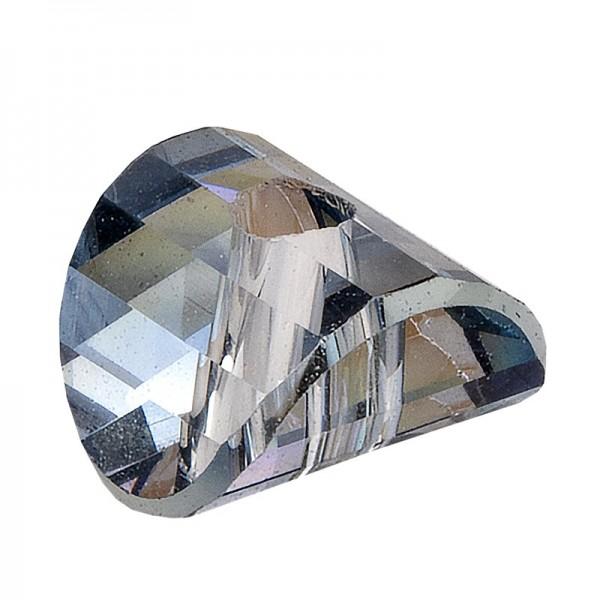 Perlen, gewölbt, 5mm x 5mm x 3mm, transparent, anthrazit, irisierend, 40 Stück