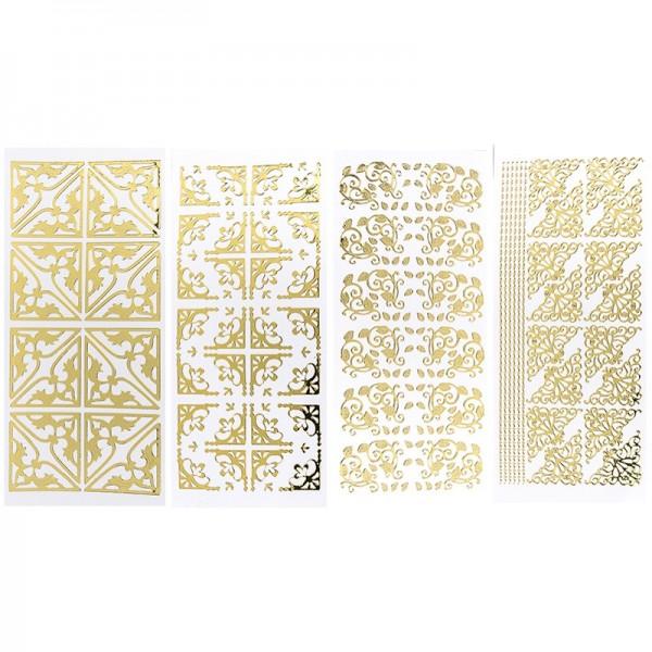 Stickerbogen, Ecken, Spiegelfolie, gold, 4 Stück