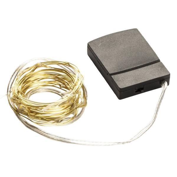 LED-Draht-Lichterkette, warmweiß, 11 cm Birnenabstand, 12er