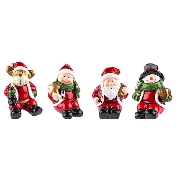 Deko-Figuren, Weihnachten 1, 6cm hoch, sitzend, 4 Stück