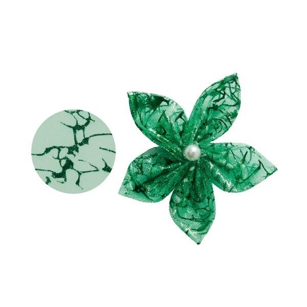 Organza-Stanzform, Krakelee, rund, Ø8cm, grün, 50 Stück