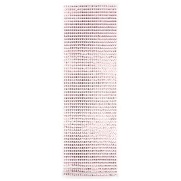 Glitzerstein-Bordüren, selbstklebend, rund, Ø3mm, rosa