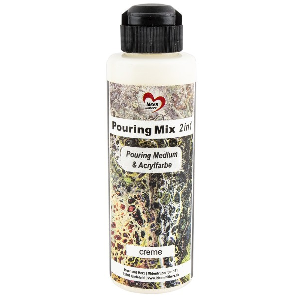 Pouring Mix, 2 in 1, Pouring Medium & Acrylfarbe, creme, 180ml