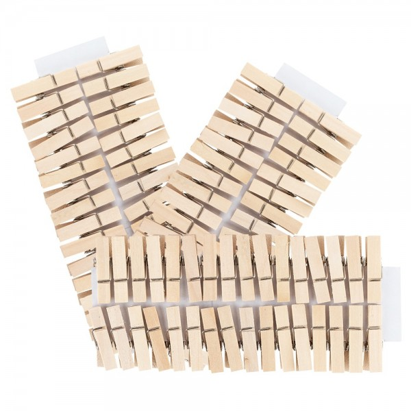 Holzklammern, 3,5cm x 0,7cm, natur, 100 Stück