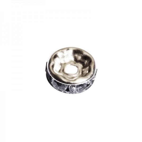 Strass-Rondell mit Strass-Steinen, Ø0,8 cm, 10 Stück, silber/rauchquarz