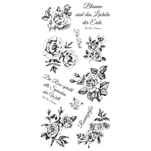Feinkontur-Stempel, einzelne Motive auf Trägerfolie, Rosen