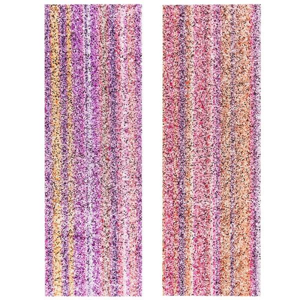 "Stoffe Royal ""Glitzer-Aquarell"", selbstklebend, 10 x 29 cm, 2 Stück, pink/orange & violett/orange"