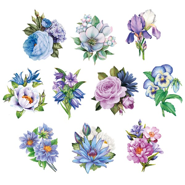 3-D Motive, Blumen in Blau-Violett 2, 6,5-9,5cm, 10 Motive