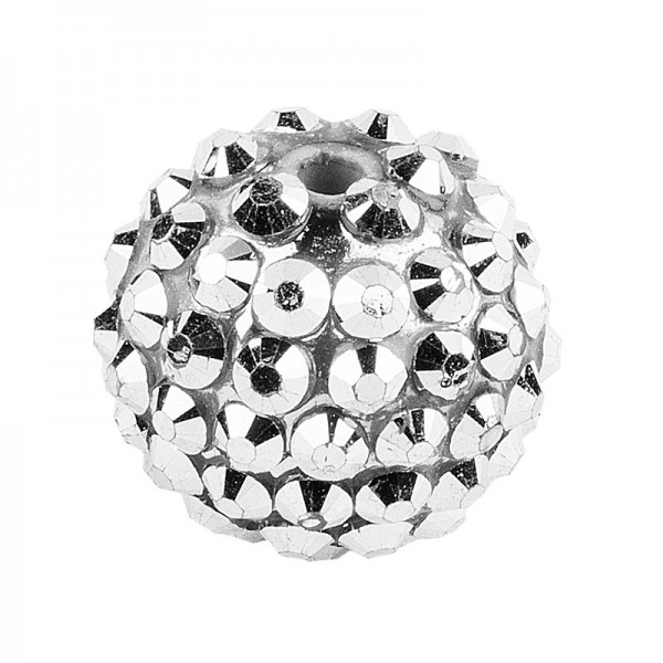 Kristall-Perlen, Ø 10mm, silber, 10 Stück