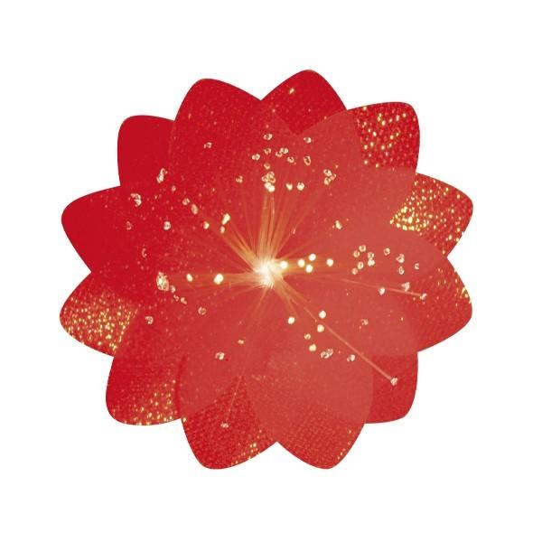 Lichteffekt-Blume, Diamant-Effekt, Ø6cm, rot, 10er Set