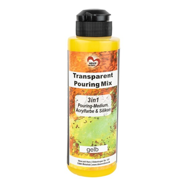 Transparent-Pouring-Mix, 3 in 1, Medium, Acrylfarbe & Silikonöl, gelb, 180 ml