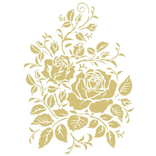 Metallic-Bügeltransfer, Rosen 2, DIN A4, gold glänzend