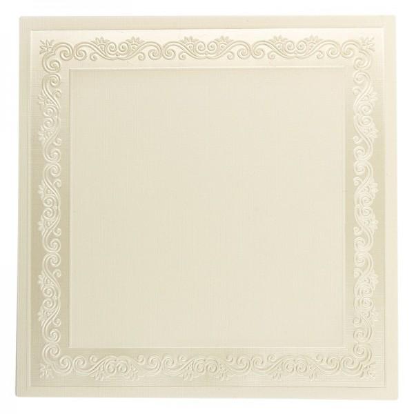 Exquisit-Grußkarten mit Top-Prägung, 16 x 16 cm, 10 Stück, creme/Rahmen