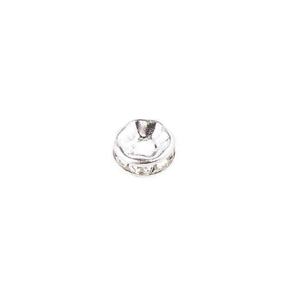 Strass-Rondell mit Strass-Steinen, Ø 8mm, silber, 100 Stück