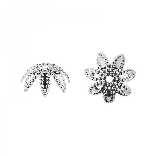Perlenkappen, Design 1, für Perlen mit Ø6mm, silber, 30 Stück