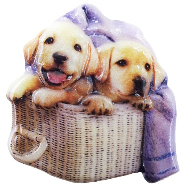 Wachsornament Hunde 9, farbig, geprägt, 7cm