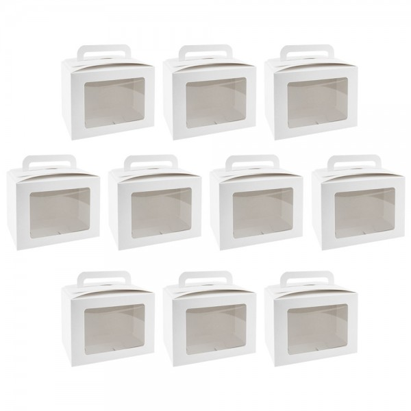 Geschenkboxen mit Sichtfenster, Design 2, 10cm x 14cm x 13cm, 250 g/m², weiß, 10 Stück