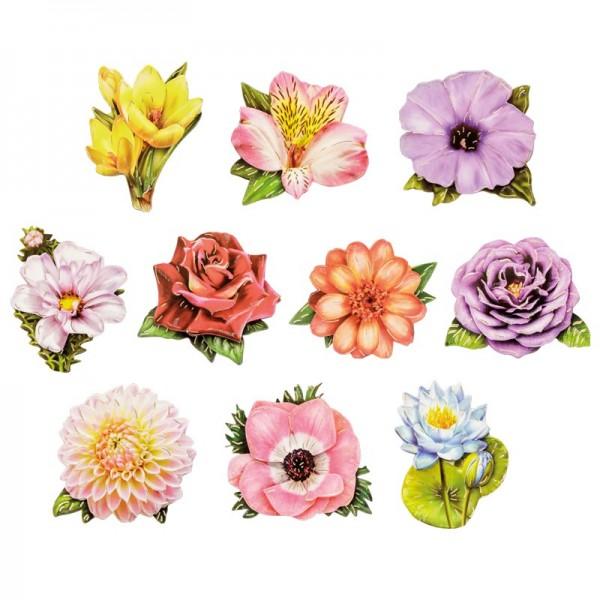 3-D Motive, Elite Blüten, Gold-Gravur, 5,5-7,5cm, 10 Motive