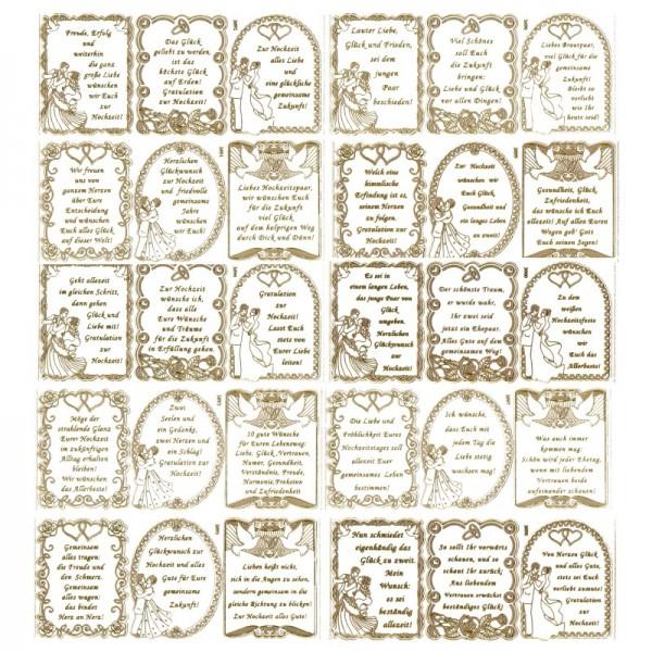"""Gravur-Sticker, Sprüche, """"Zur Hochzeit"""", 10 Bogen"""