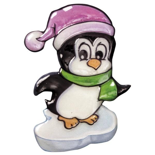 Wachsornament Pinguine 2, farbig, geprägt, 8cm