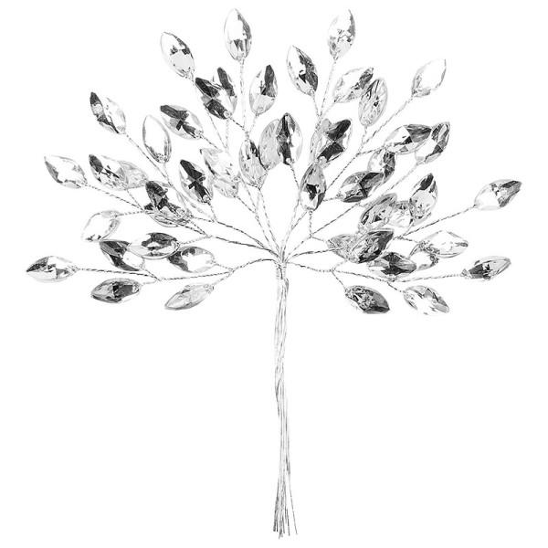 Deko-Kristallzweige am Draht, 13 cm, klar, 10 Stück