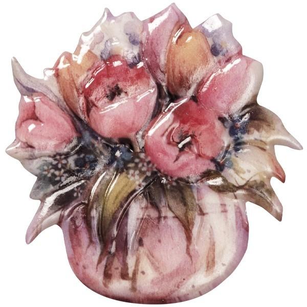 Wachsornament Blumenvasen 8, farbig, geprägt, 7cm