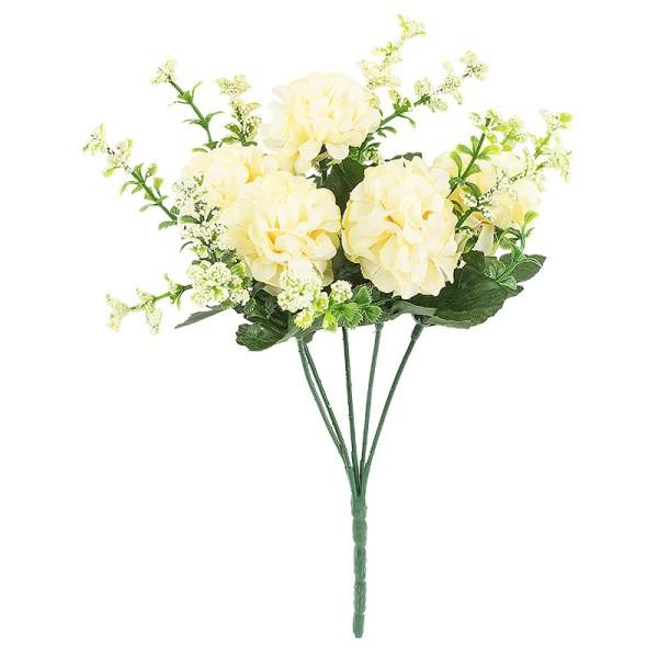 Blütenbusch, Hortensien 2, 27cm hoch, 5 große Blüten Ø5cm, creme