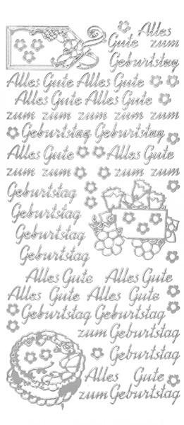 Sticker, Schrift, Alles Gute zum Geburtstag, Perlmuttfolie, silber