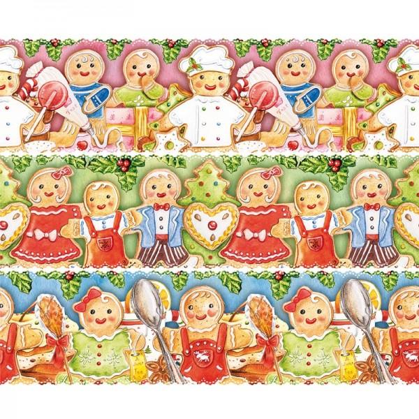 """Zauberfolien """"Lebkuchen-Familie"""", Schrumpffolie für Ø6cm, 5,5cm hoch, 6 Stück"""