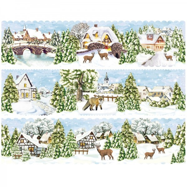 "Zauberfolien ""Winterdörfer"", Schrumpffolien für Ø10cm, 8,5 cm hoch, 6 Stück"