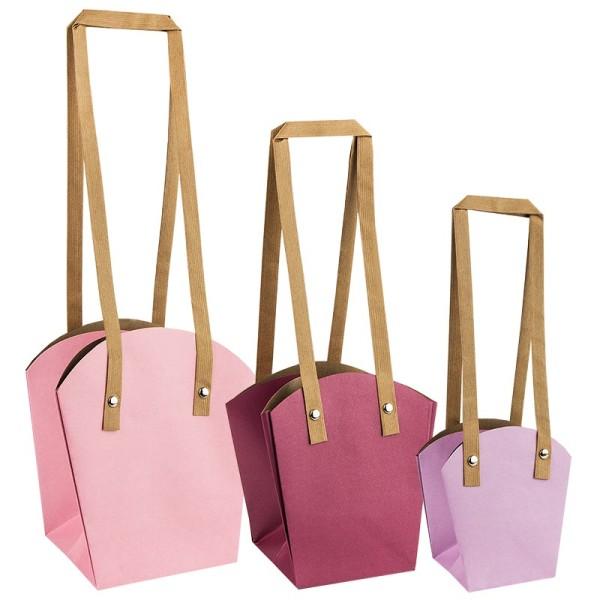 Geschenk-Taschen für Pflanzen, verschiedene Größen und Farben, 3 Stück