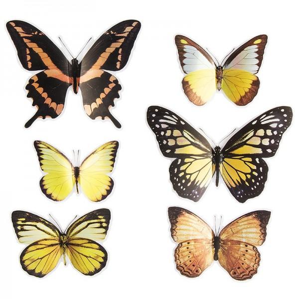 Pop-Up Sticker, Schmetterlinge 3, 19cm x 21cm, Kupfer- & Gelbtöne, 6 Sticker