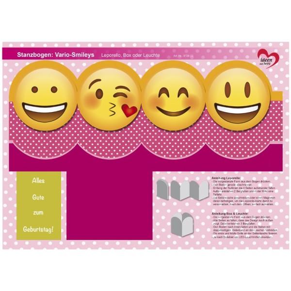 Stanzbogen, Vario-Smileys, DIN A4, Design 3