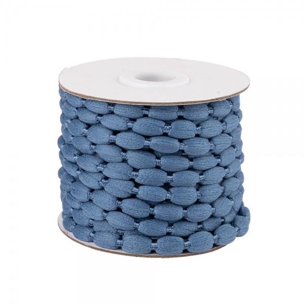 Pompon-Band, Ø 1cm, 10m, auf Rolle, jeansblau