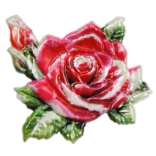 Wachsornament, Rose, farbig, geprägt, 7x7cm