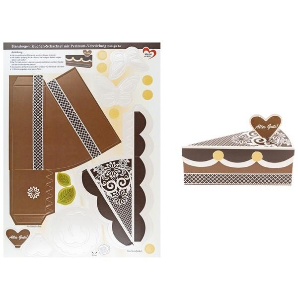 Stanzbogen, Kuchen-Schachteln, Design 3a, DIN A4, 12 Stück