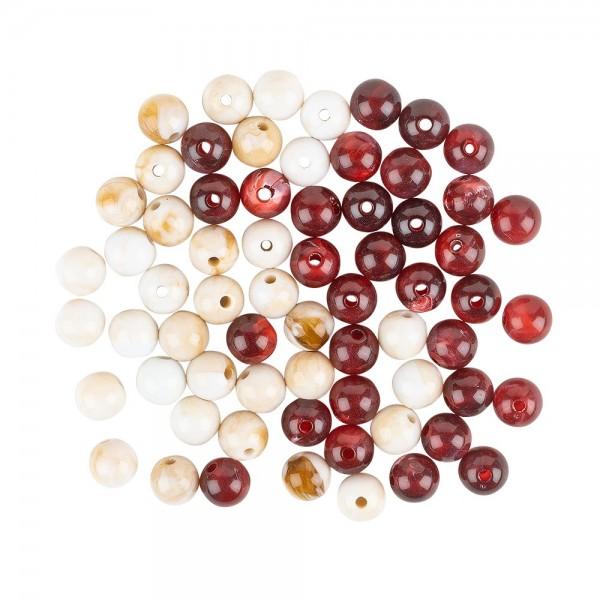 Perlen, rund, glänzend, Ø 1cm, Naturstein-Optik, naturweiß und weinrot, leicht marmoriert, 65 Stück